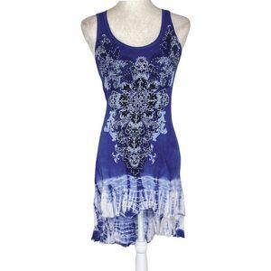Vocal blue rhinestone tie dye graphic tank dress